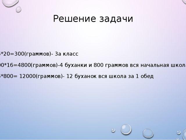 Решение задачи 15*20=300(граммов)- 3а класс 300*16=4800(граммов)-4 буханки и...