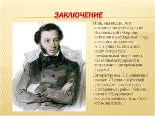 Итак, мы видим, что впечатления от поездки по Воронежской губернии оставили