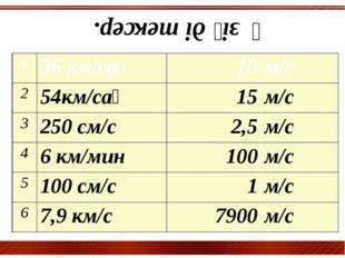 Өзіңді тексер. 1 36 км/сағ 10 м/с 2 54км/сағ 15 м/с 3 250 см/с 2,5 м/с 4 6 к