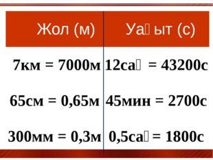 Жол(м) Уақыт(с) 7км= 7000м 12сағ= 43200с 65см = 0,65м 45мин = 2700с 300мм =