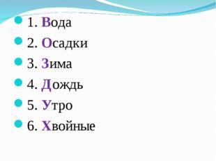 1. Вода 2. Осадки 3. Зима 4. Дождь 5. Утро 6. Хвойные