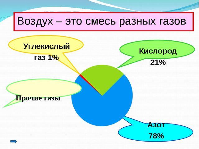 Воздух – это смесь разных газов Углекислый газ 1% Кислород 21% Азот 78% Проч...
