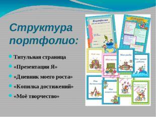 Структура портфолио: Титульная страница «Презентация Я» «Дневник моего роста»