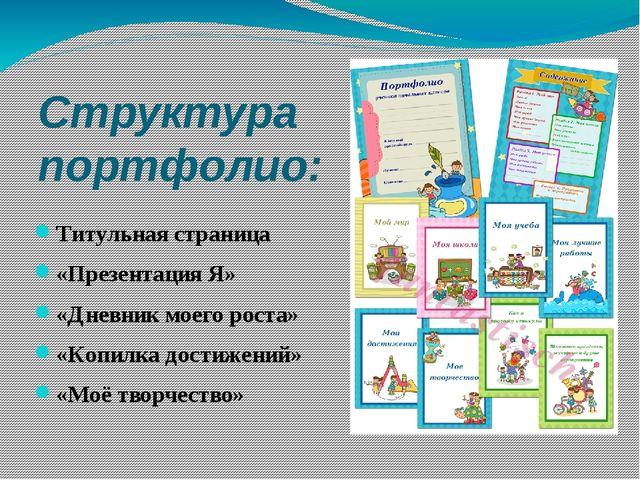 Структура портфолио: Титульная страница «Презентация Я» «Дневник моего роста»...
