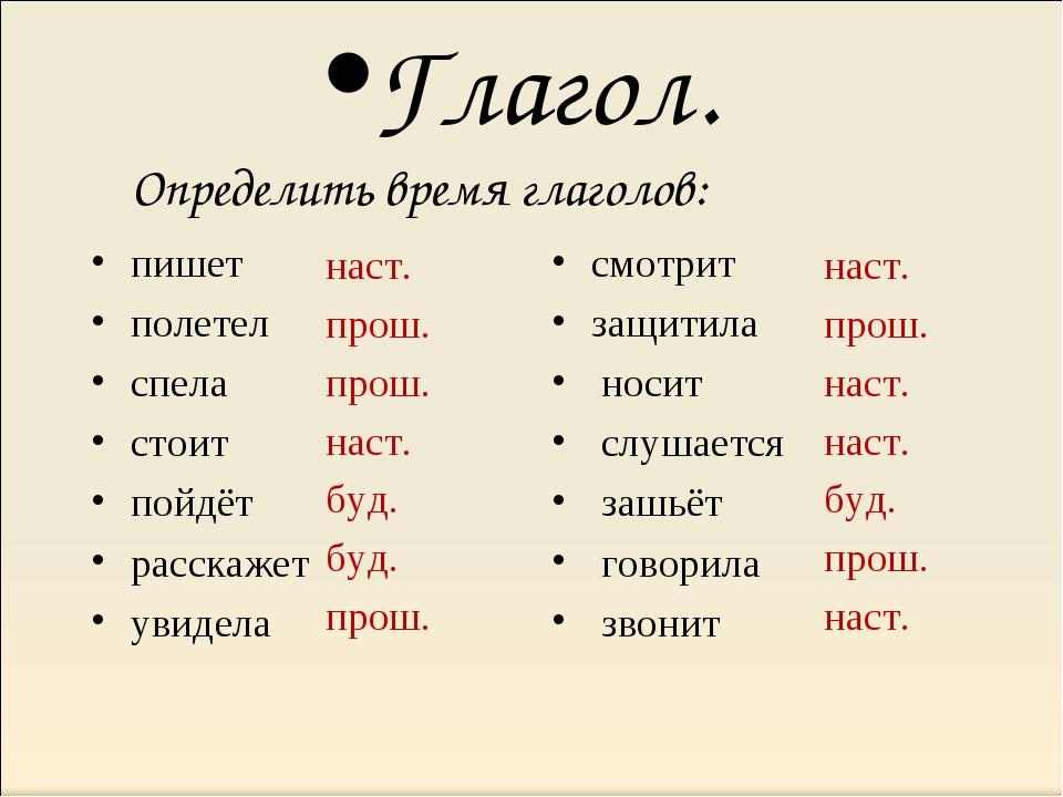 Глагол. Определить время глаголов: пишет полетел спела стоит пойдёт расскажет...