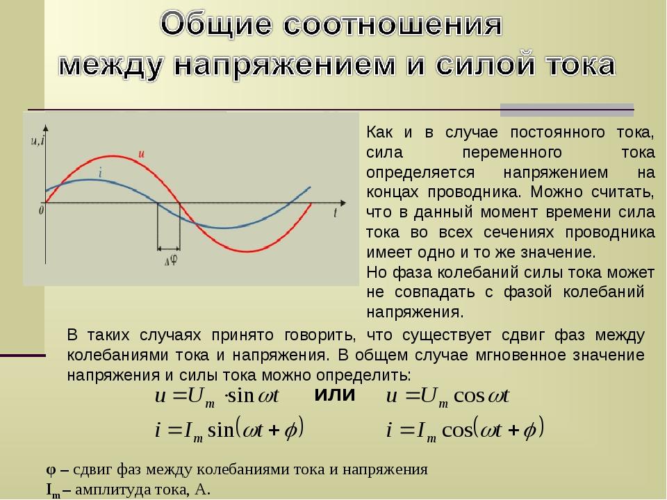 Как и в случае постоянного тока, сила переменного тока определяется напряжени...