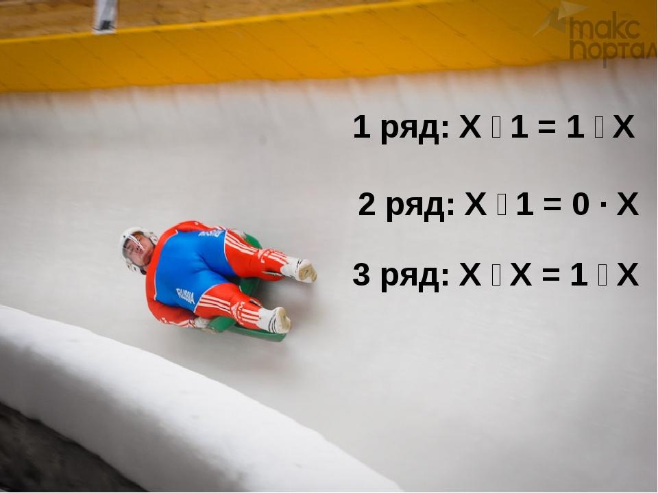 1 ряд: Х ː 1 = 1 ː Х 2 ряд: Х ː 1 = 0 · Х 3 ряд: Х ː Х = 1 ː Х