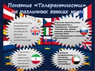 """В русском языке два слова - толерантность и терпимость. Означают """"способност"""