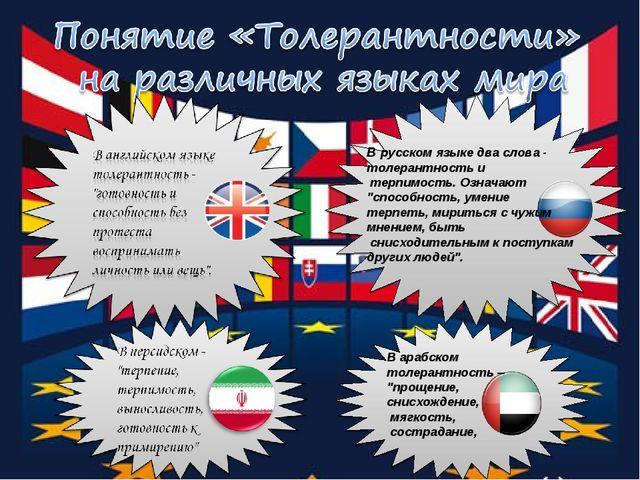 """В русском языке два слова - толерантность и терпимость. Означают """"способност..."""