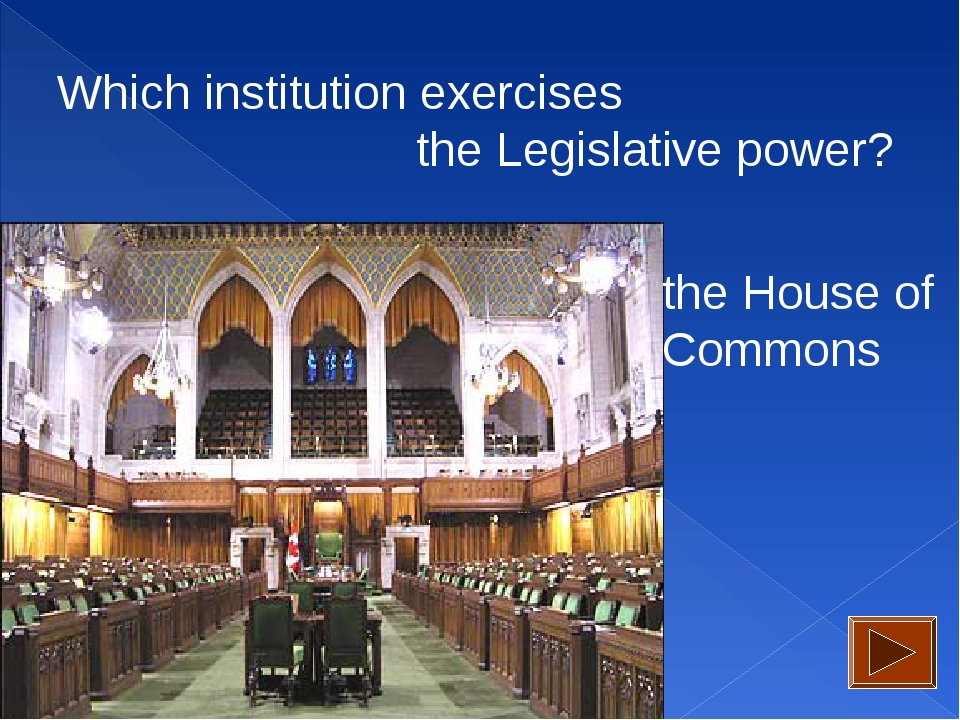 Which institution exercises the Legislative power? the House of Commons
