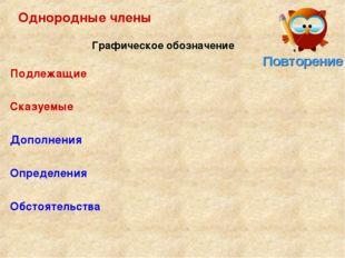 Однородные члены Подлежащие Сказуемые Дополнения Определения Обстоятельства Г