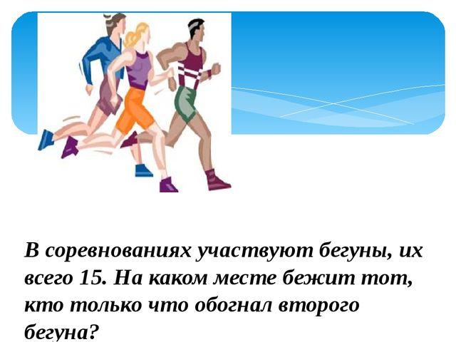 В соревнованиях участвуют бегуны, их всего 15. На каком месте бежит тот, кто...