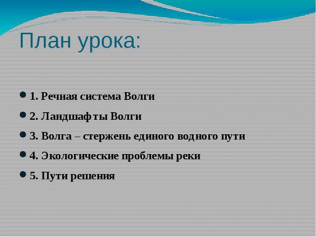 План урока: 1. Речная система Волги 2. Ландшафты Волги 3. Волга – стержень ед...