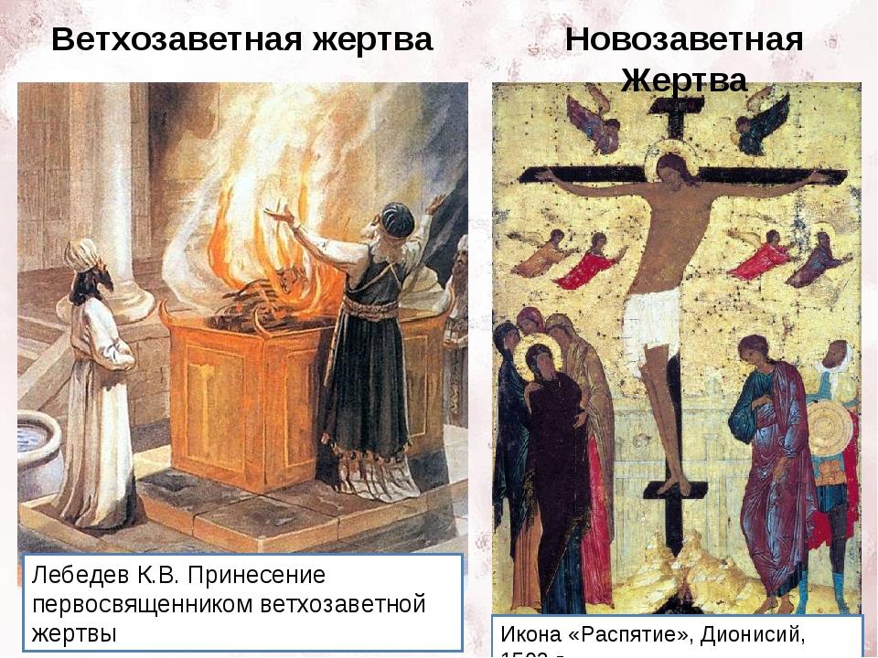 Ветхозаветная жертва Новозаветная Жертва Икона «Распятие», Дионисий, 1502 г....