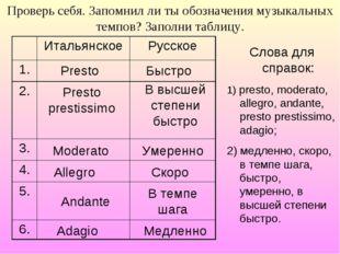 Проверь себя. Запомнил ли ты обозначения музыкальных темпов? Заполни таблицу.