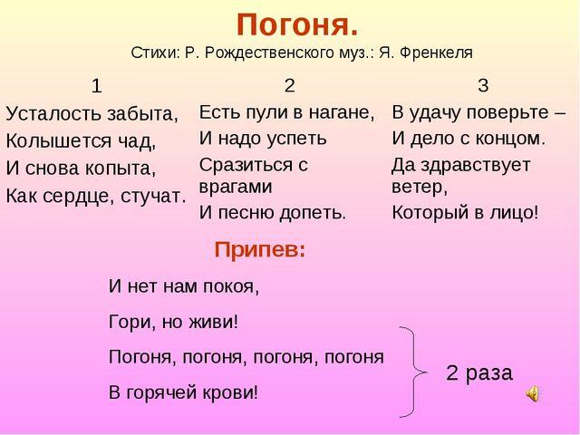 Погоня. Стихи: Р. Рождественского муз.: Я. Френкеля Припев: И нет нам покоя,...