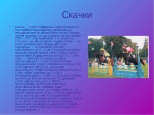Скачки Скачки — конноспортивные соревнования на быстрейшее прохождение дистан