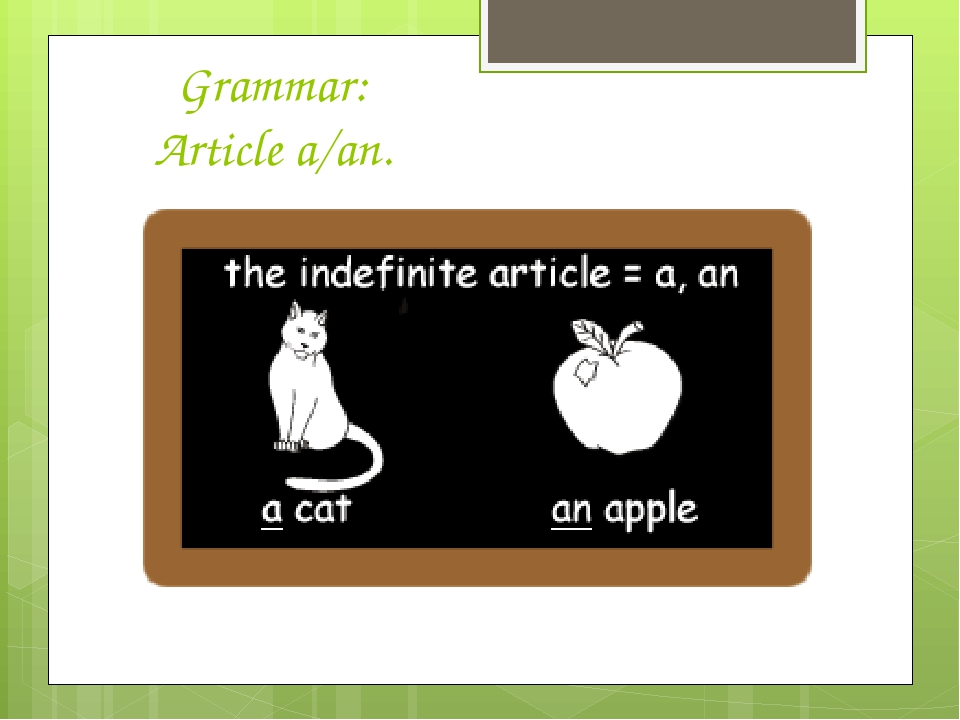 Grammar: Article a/an.