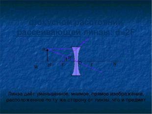 Предмет находится на двойном фокусном расстоянии рассеивающей линзы: d=2F Лин