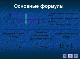 Основные формулы d – расстояние от предмета до линзы F – расстояние от изобра