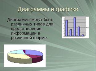 Диаграммы и графики Диаграммы могут быть различных типов для представления ин