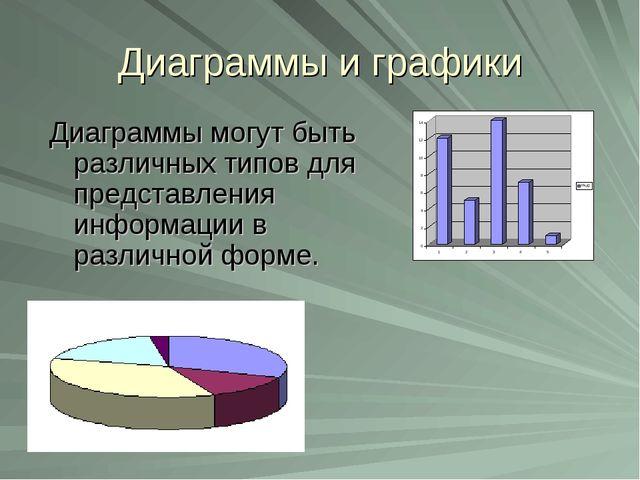 Диаграммы и графики Диаграммы могут быть различных типов для представления ин...