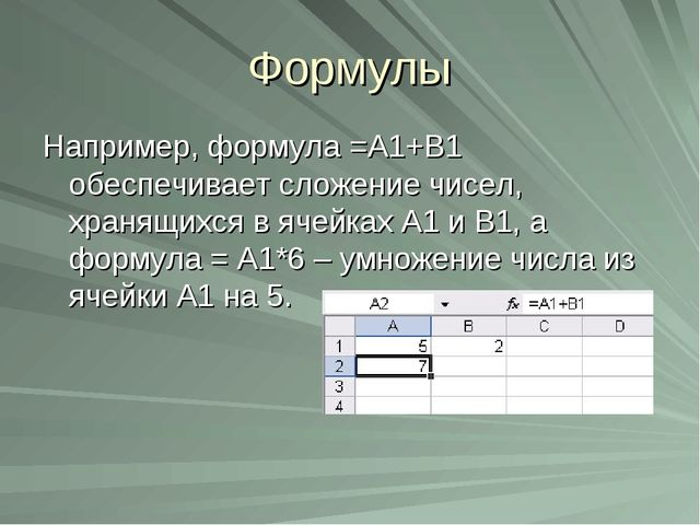 Формулы Например, формула =А1+В1 обеспечивает сложение чисел, хранящихся в яч...