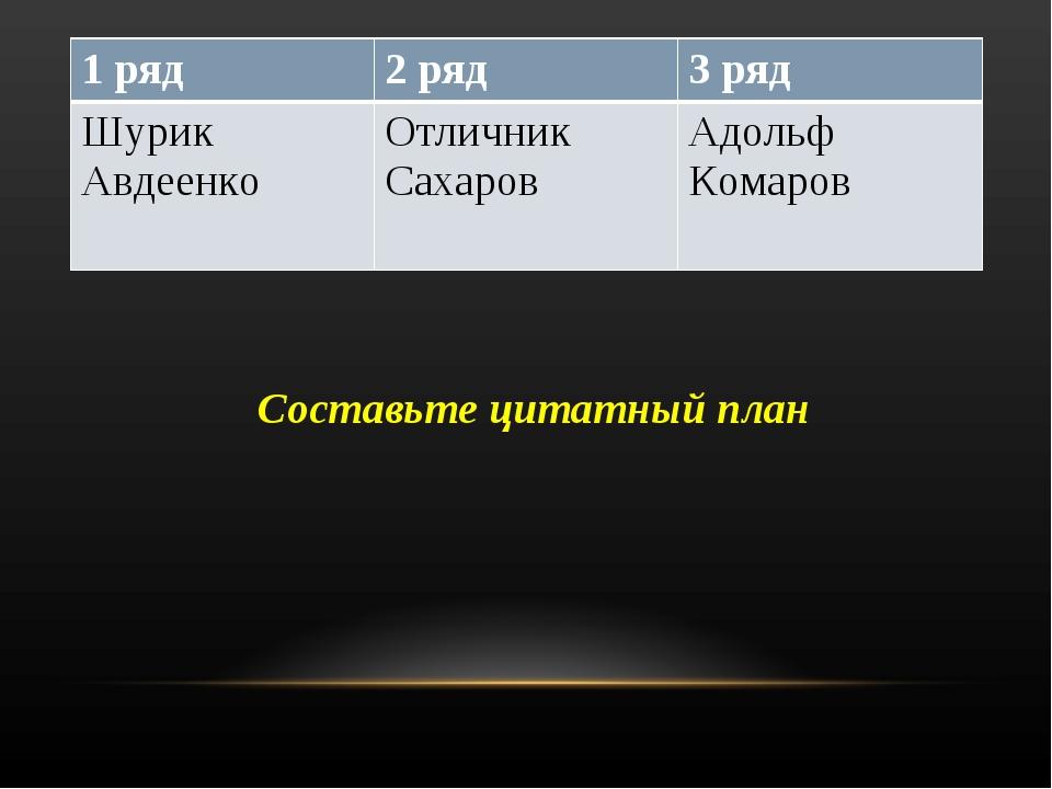 Составьте цитатный план 1 ряд2 ряд3 ряд Шурик АвдеенкоОтличник СахаровАдо...