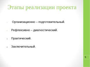 Этапы реализации проекта Организационно – подготовительный. Рефлексивно – диа