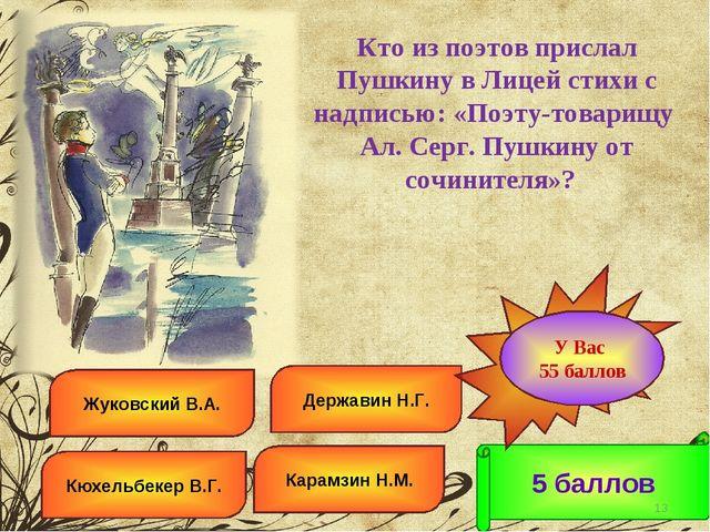 Жуковский В.А. Державин Н.Г. Кюхельбекер В.Г. Карамзин Н.М. 5 баллов Ошибка!...