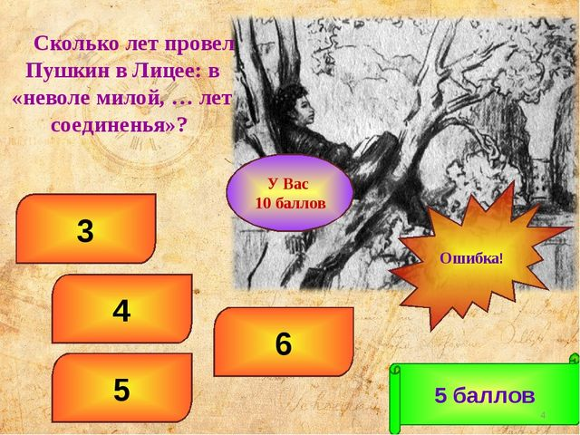 6 4 3 5 5 баллов Ошибка! * У Вас 10 баллов Сколько лет провел Пушкин в Лицее:...