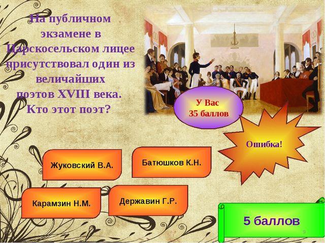Державин Г.Р. Батюшков К.Н. Карамзин Н.М. Жуковский В.А. 5 баллов * У Вас 35...