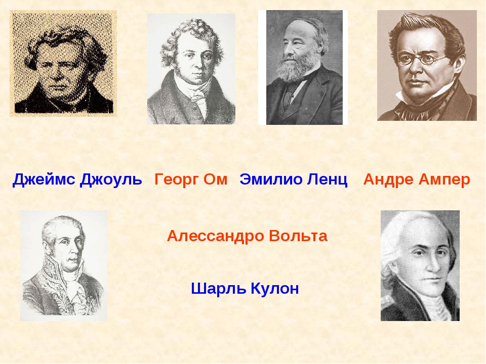 Андре Ампер Алессандро Вольта Георг Ом Шарль Кулон Джеймс Джоуль Эмилио Ленц