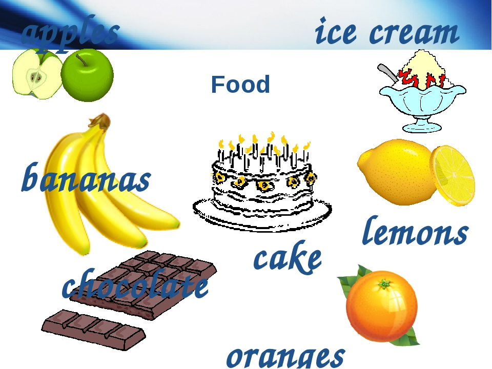 Food bananas apples lemons oranges chocolate cake ice cream