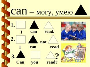 can – могу, умею I can read. I can read not Can you read? 1. 2. 3. ?
