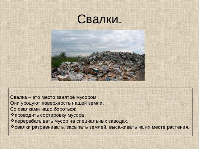 Свалки. Свалка – это место занятое мусором. Они уродуют поверхность нашей зем...