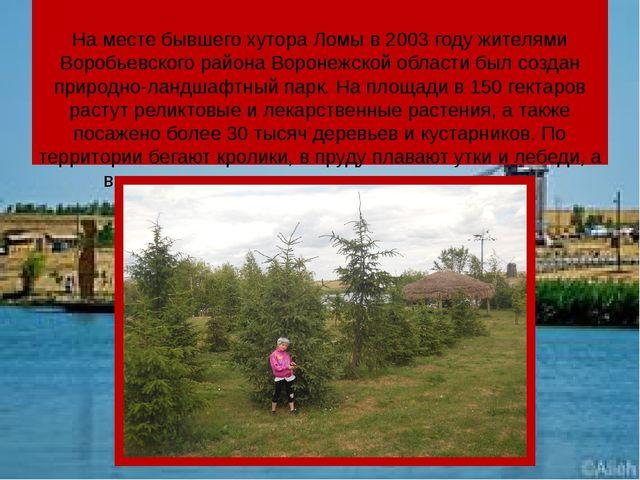 На месте бывшего хутора Ломы в 2003 году жителями Воробьевского района Ворон...
