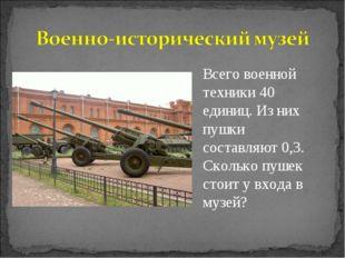 Всего военной техники 40 единиц. Из них пушки составляют 0,3. Сколько пушек с