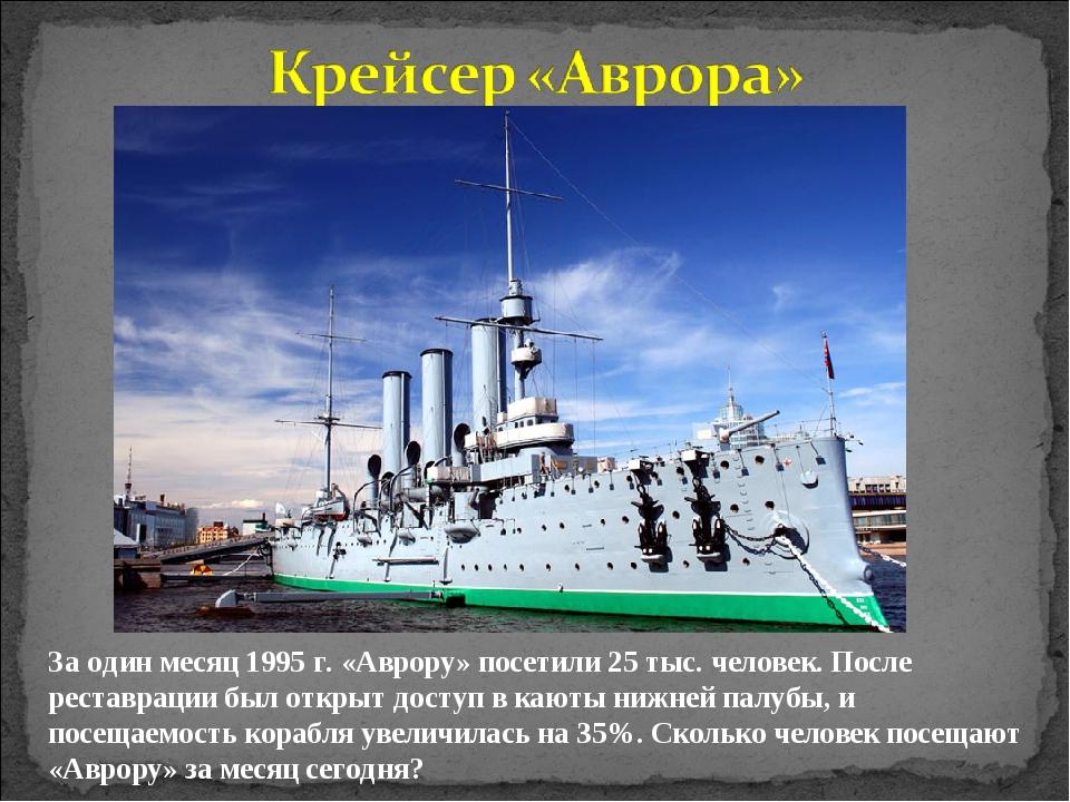 За один месяц 1995 г. «Аврору» посетили 25 тыс. человек. После реставрации бы...