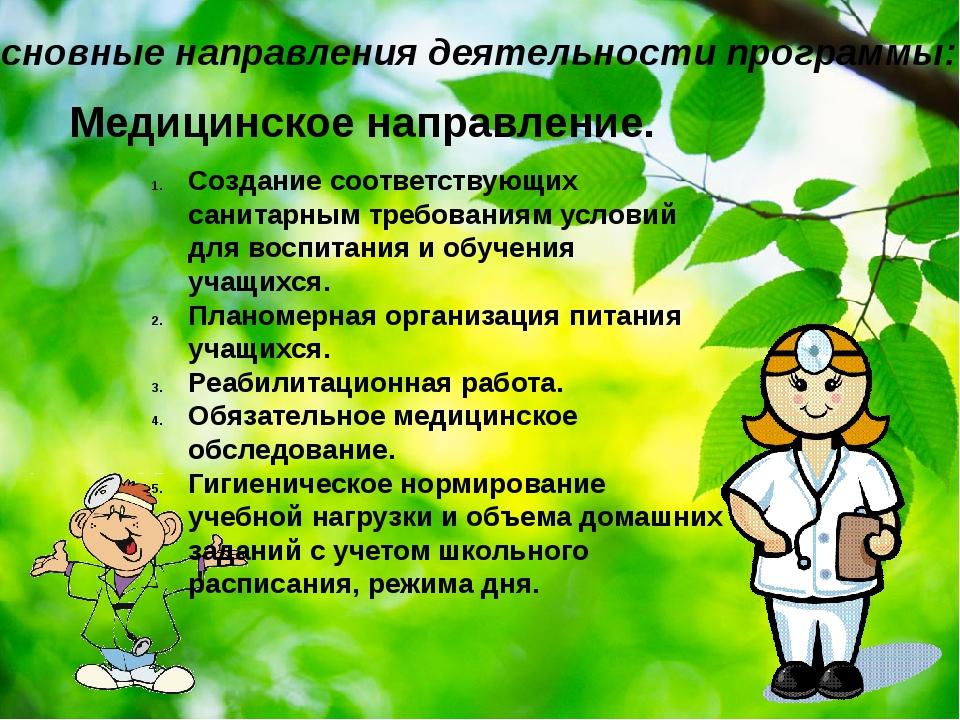 Основные направления деятельности программы: Медицинское направление. Создани...