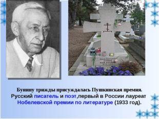 Бунину трижды присуждалась Пушкинская премия. Русский писатель и поэт,первый