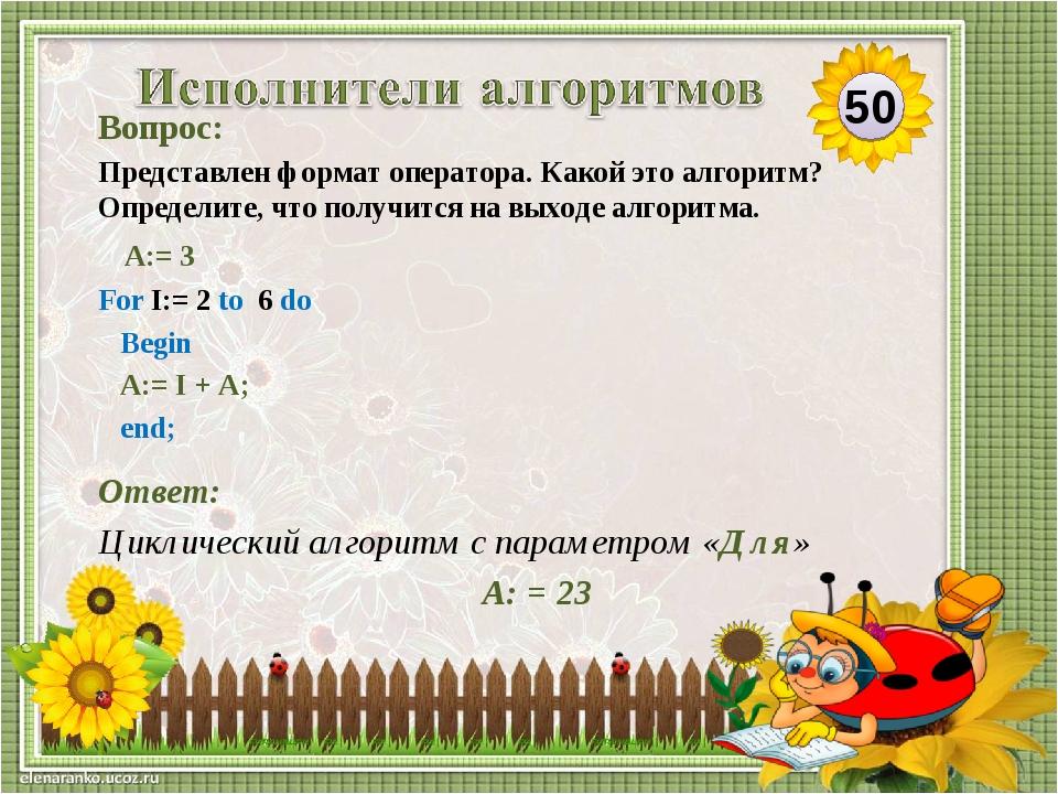 Ответ: Циклический алгоритм с параметром «Для» А: = 23 Вопрос: Представлен фо...