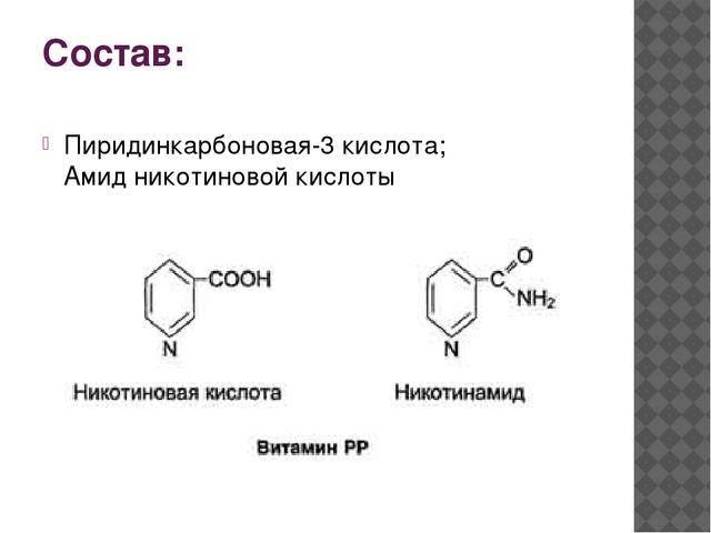 Состав: Пиридинкарбоновая-3 кислота; Амид никотиновой кислоты