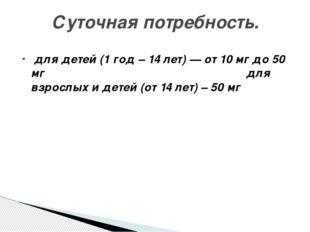 для детей (1 год – 14 лет) — от 10 мг до 50 мг для взрослых и детей (от 14 л