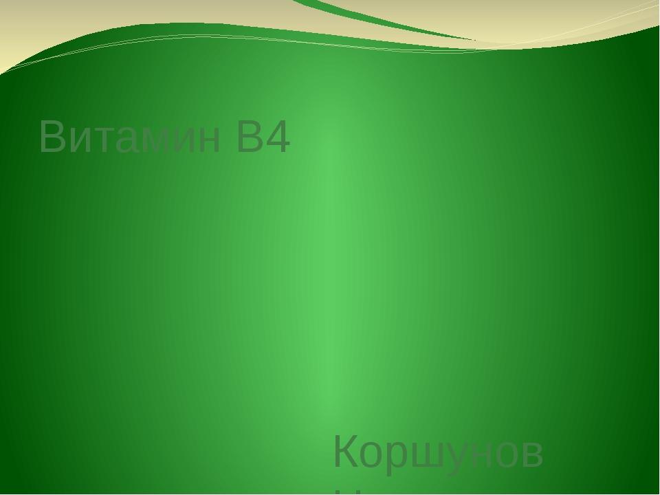 Витамин B4 Коршунов Никита 8Б класс