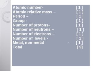 Atomic number- [ 1 ] Atomic relative mass – [ 1 ] Period – [ 1 ] Group - [ 1