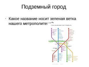 Подземный город Какое название носит зеленая ветка нашего метрополитена?
