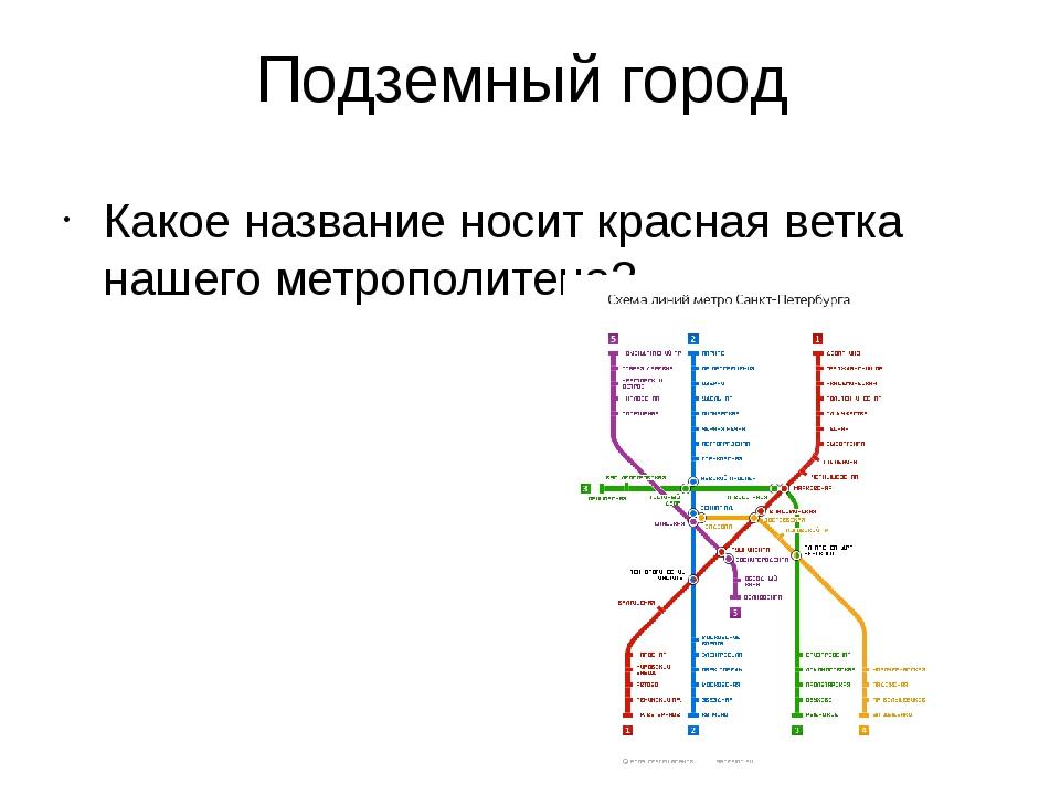 Подземный город Какое название носит красная ветка нашего метрополитена?