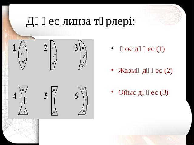 Дөңес линза түрлері: Қос дөңес (1) Жазық дөңес (2) Ойыс дөңес (3)