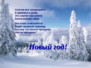 Снегом все запорошило – И деревья и дома. Это значит наступила Белоснежная зи
